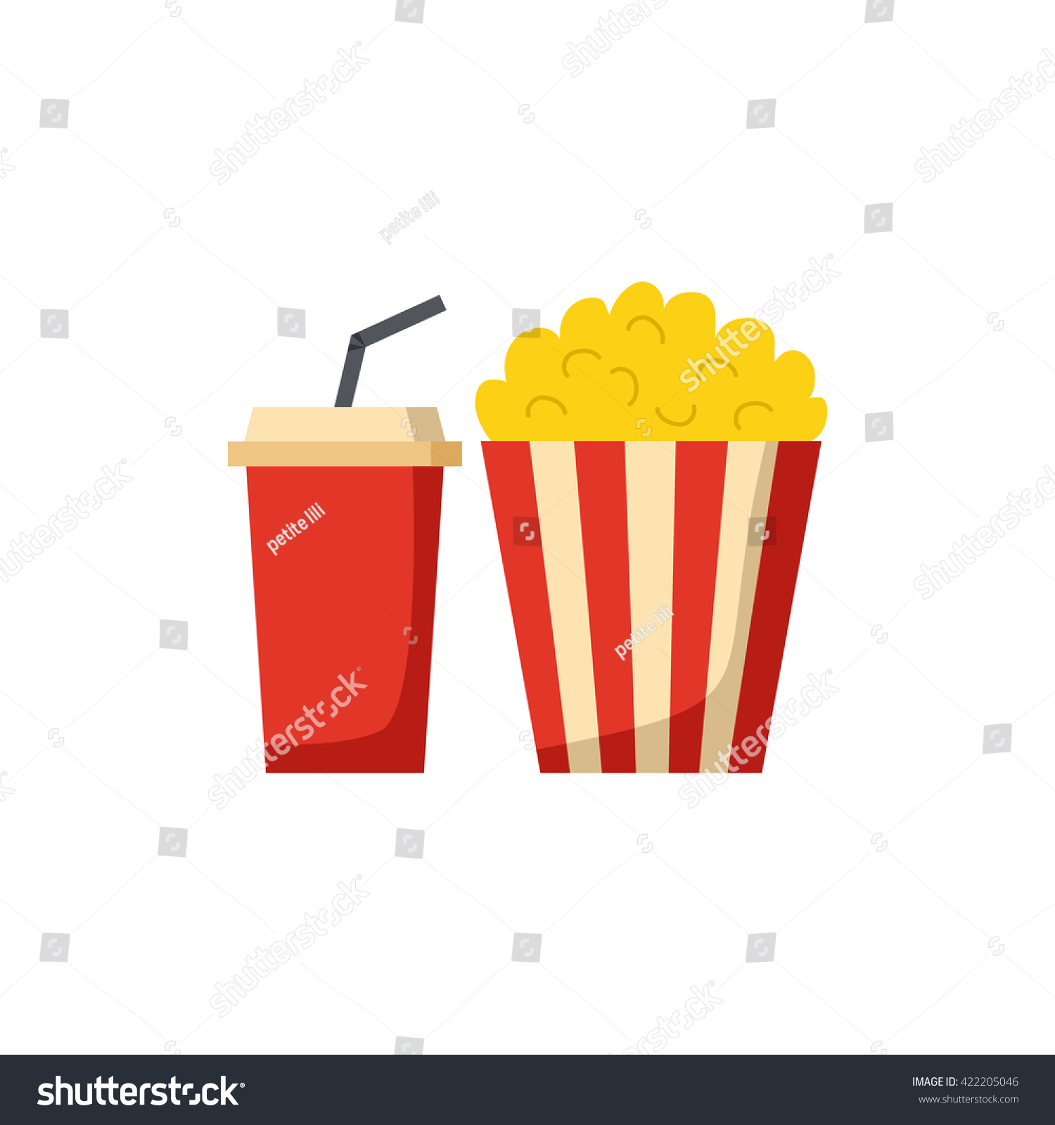Vector Illustration Cartoon Movie Popcorn Soda Stock Vector Royalty Free 422205046