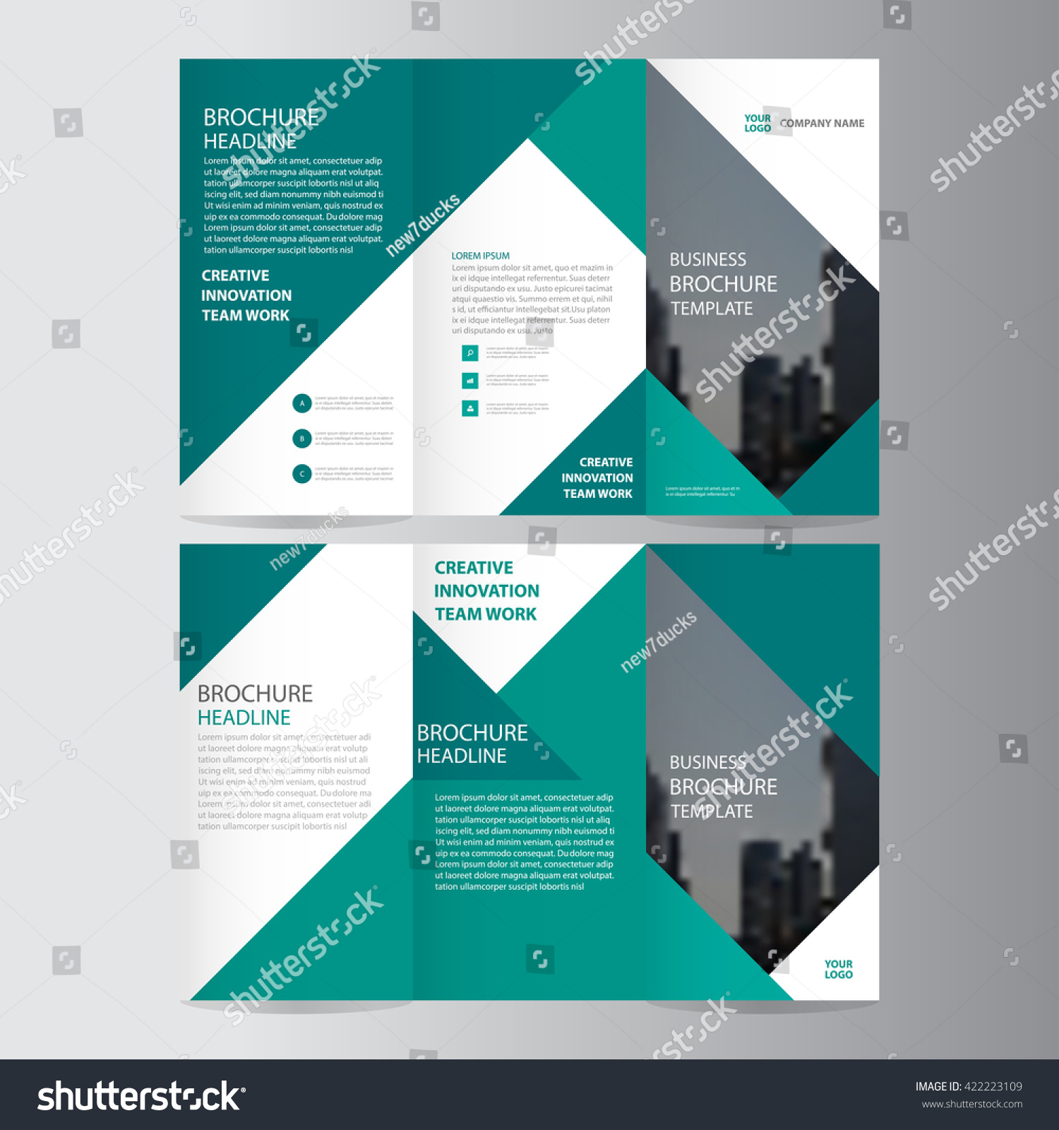 Green Elegance Business Trifold Business Leaflet Stock Vector ...
