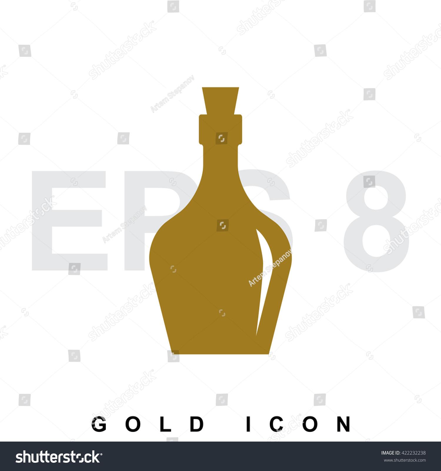 Golden Old Retro Bottle Icon Logo Stock Vector 422232238 Shutterstock