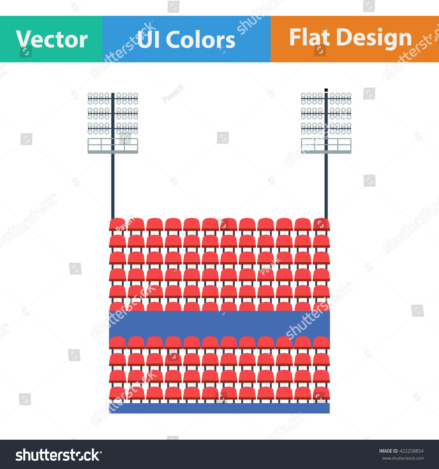 Stadium Tribune Seats Light Mast Icon Stock Vector Royalty Free Wiring Diagram For With And Flat Design In Ui Colors