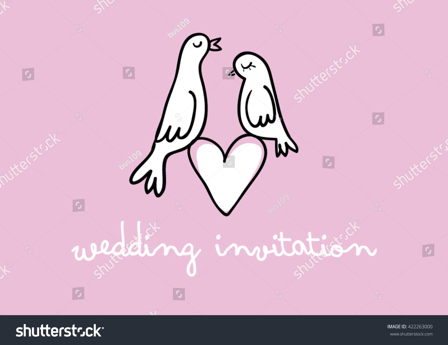 Doves Love Couple On Heart Doves Stock Vector 422263000 - Shutterstock