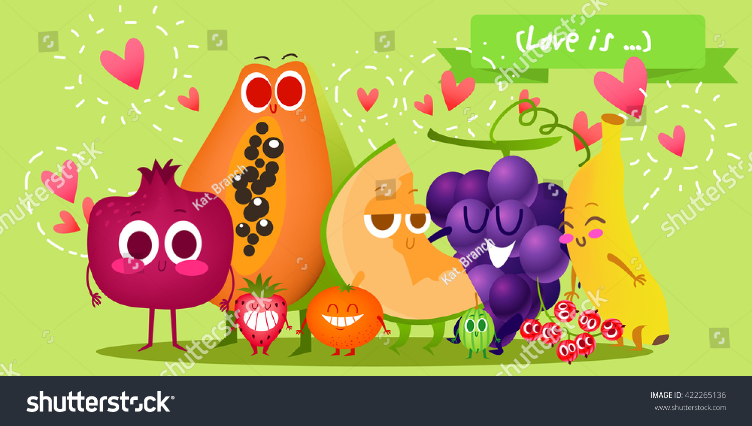 A set of cute fruit Illustration with funny characters Love and hearts Time to fresh