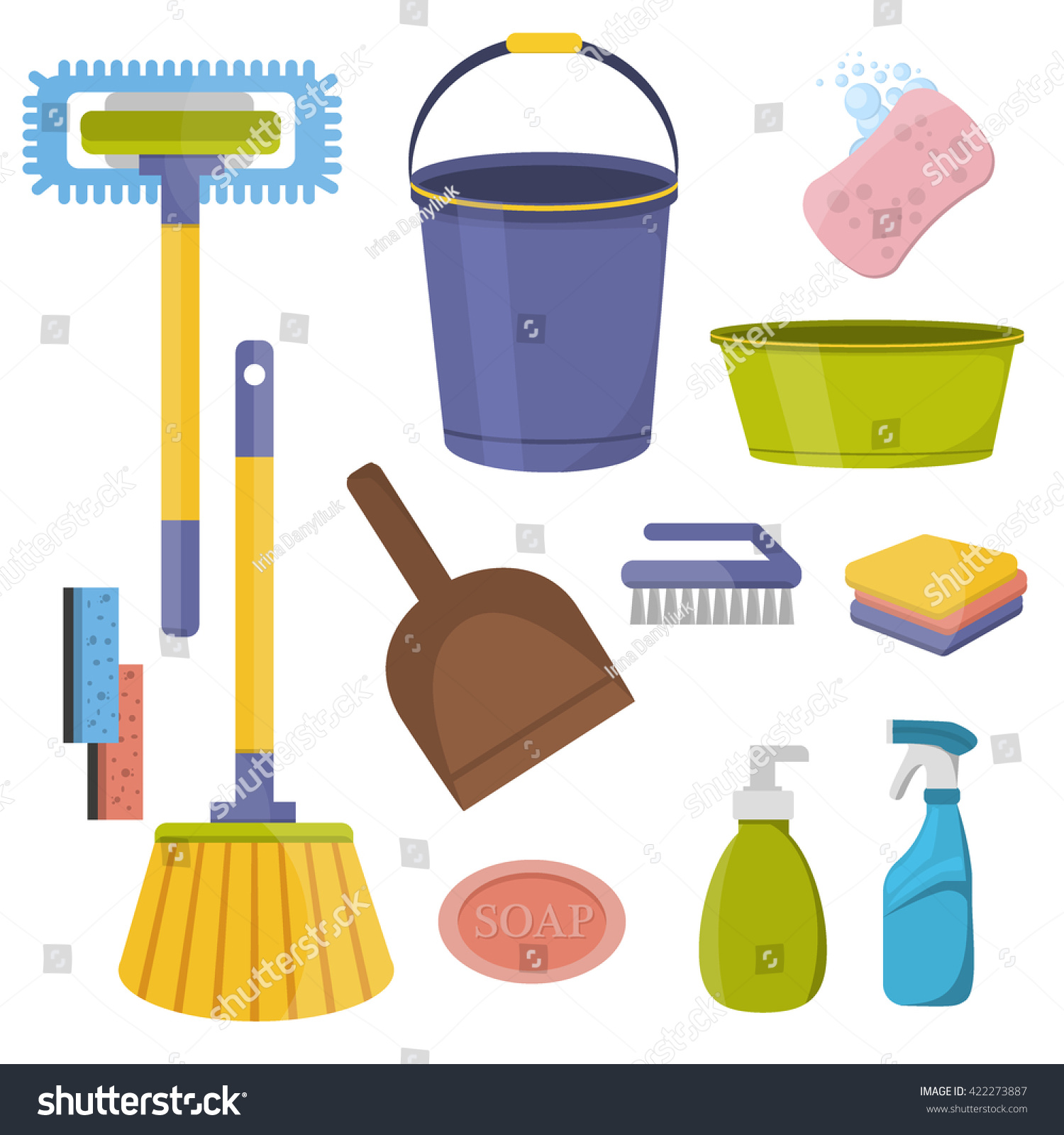 Vector set cleaning tools flat design stock vector 422273887 shutterstock - Household tools ...