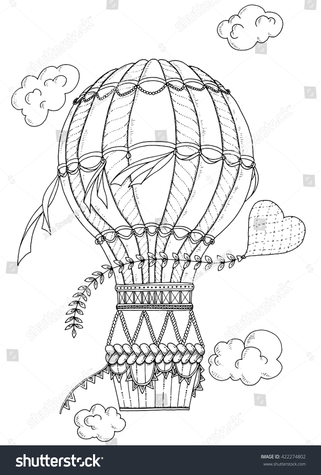 Summer theme black white air balloon stock vector for Summer themed coloring pages