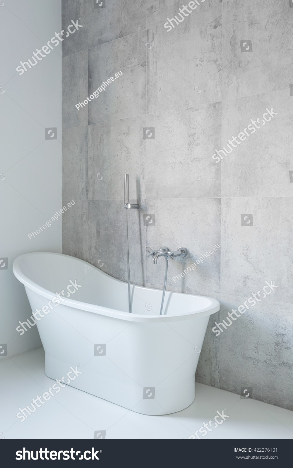White Big Bathtub Modern Bathroom Decorative Stock Photo 422276101 ...