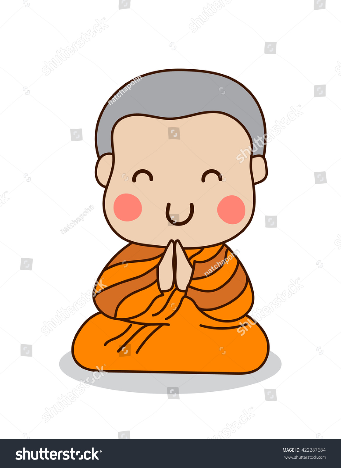 Young Buddhist Monk Sitting Praying Vector Stock Photo Photo