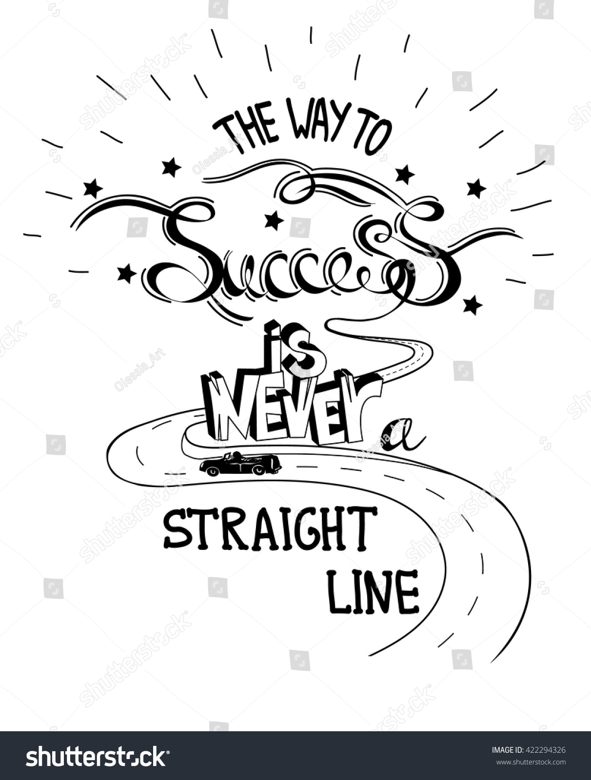 Line Art Quotes : Hand drawn quote way success never stock vector