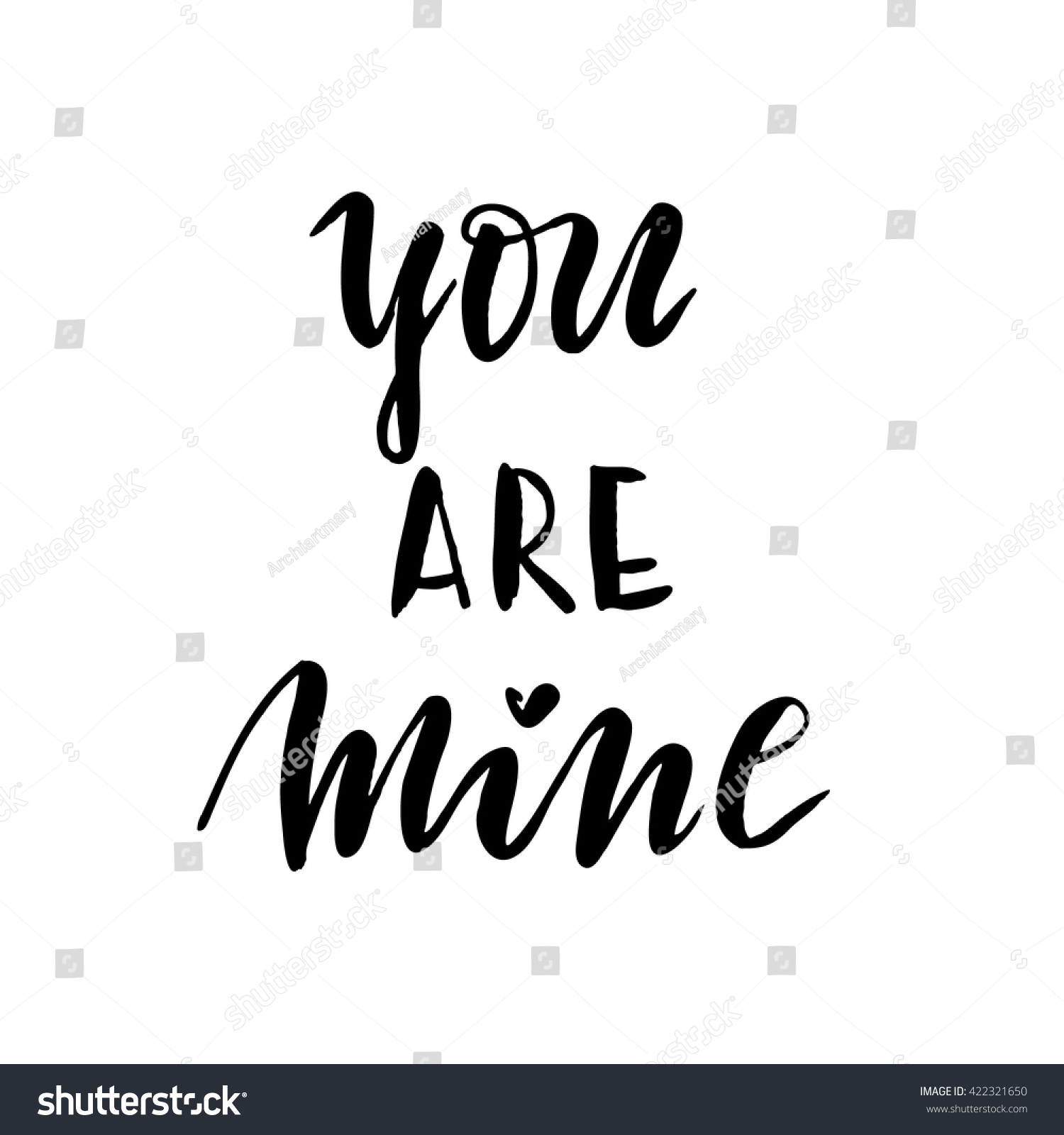 You Mine Romantic Quote Lettering Hand Stockvector Rechtenvrij