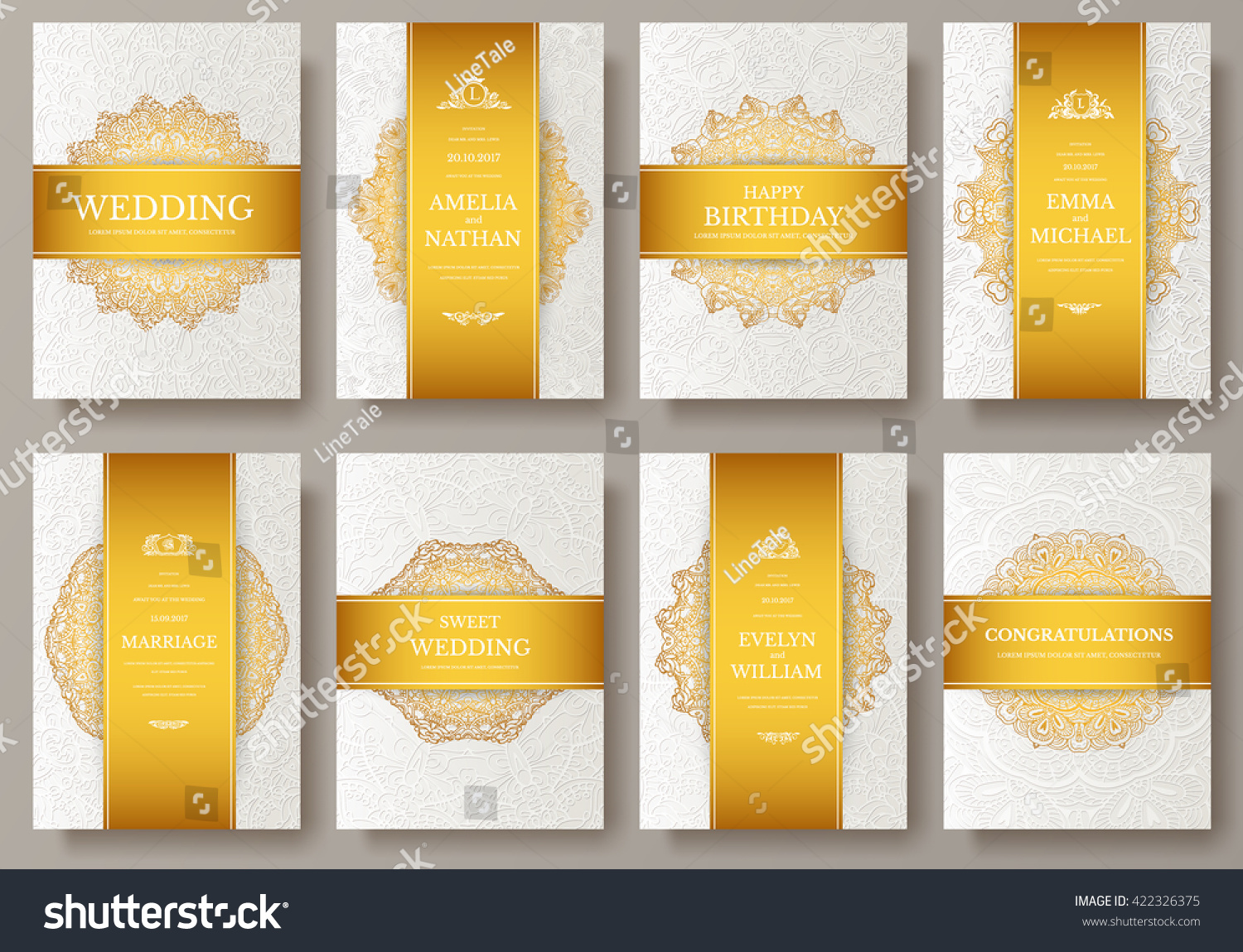 Set Luxury Gold Artistic Pages Set Vector 422326375 – Retro Brochure Template