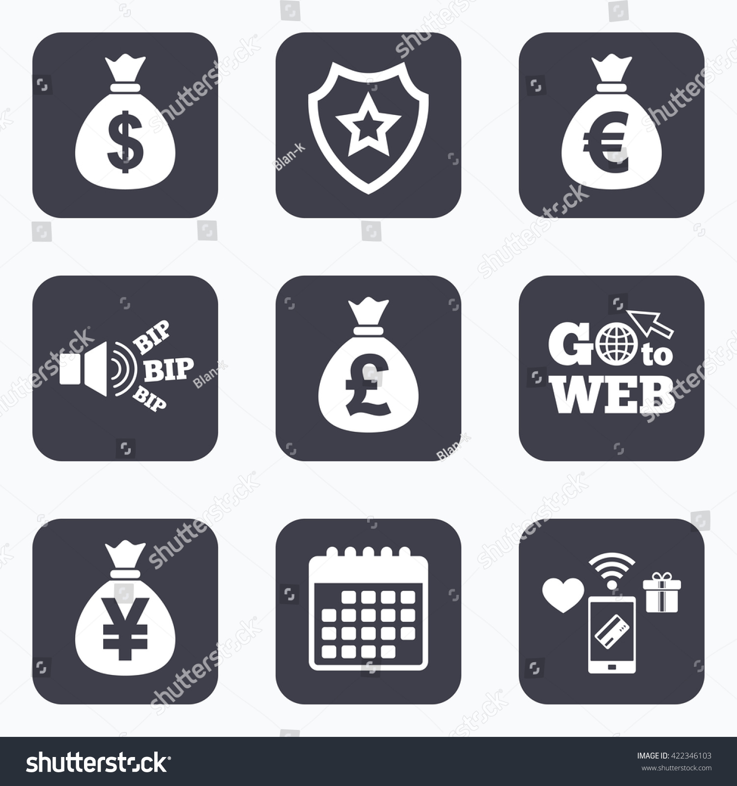 Mobile Payments Wifi Calendar Icons Money Stock Illustration