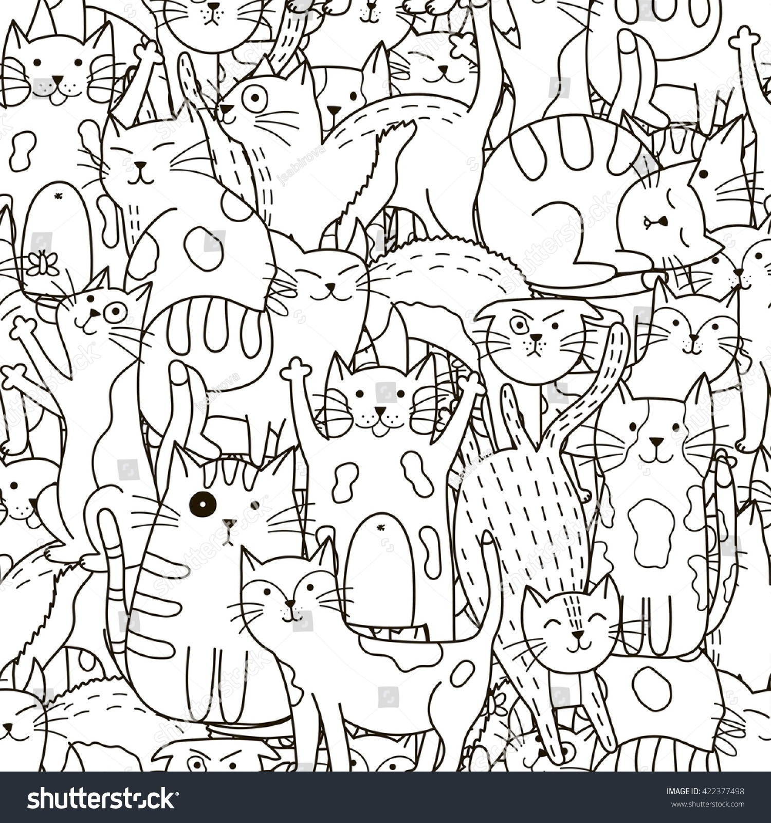 Doodle Cats Seamless Pattern Black And White Cute Background Great For Coloring Book