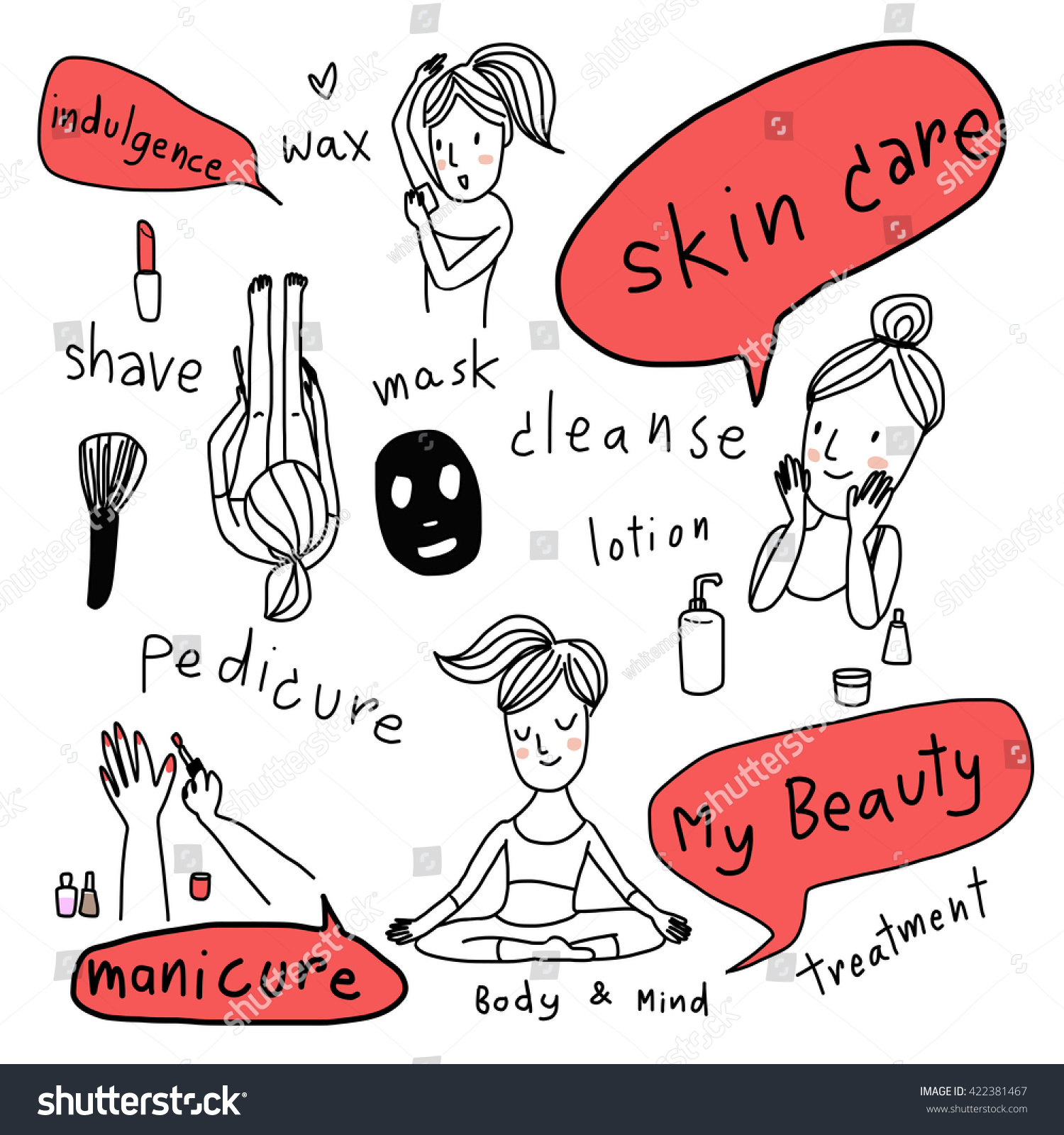 various actions of girl with her beauty treatment skin care shaving waxing manicure pedicure and facial care included brush lipstick mask lotion bottle vector-illustration wording about beauty