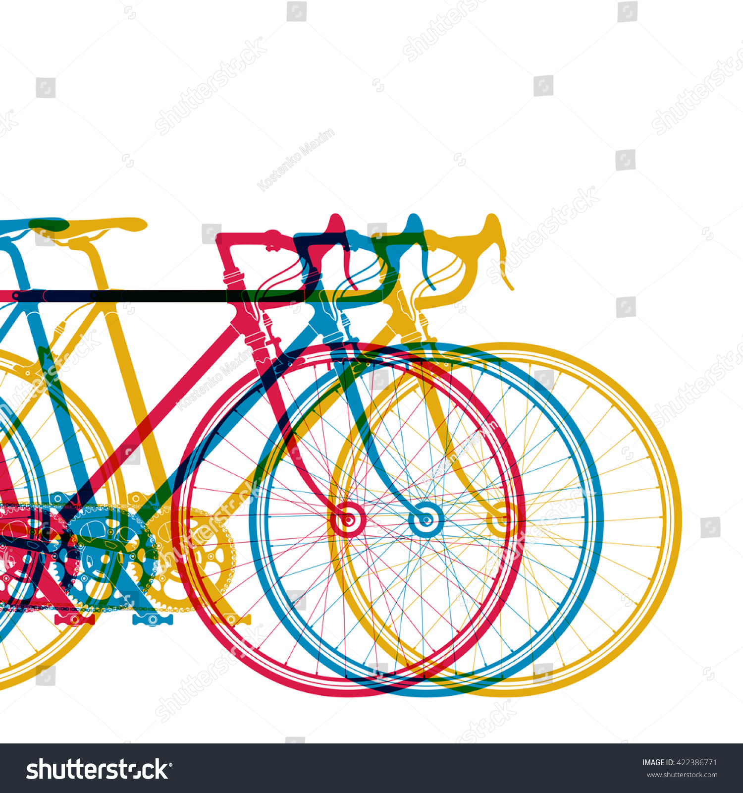 Abstract Background 3 Bikes Different Colors Stock Vector