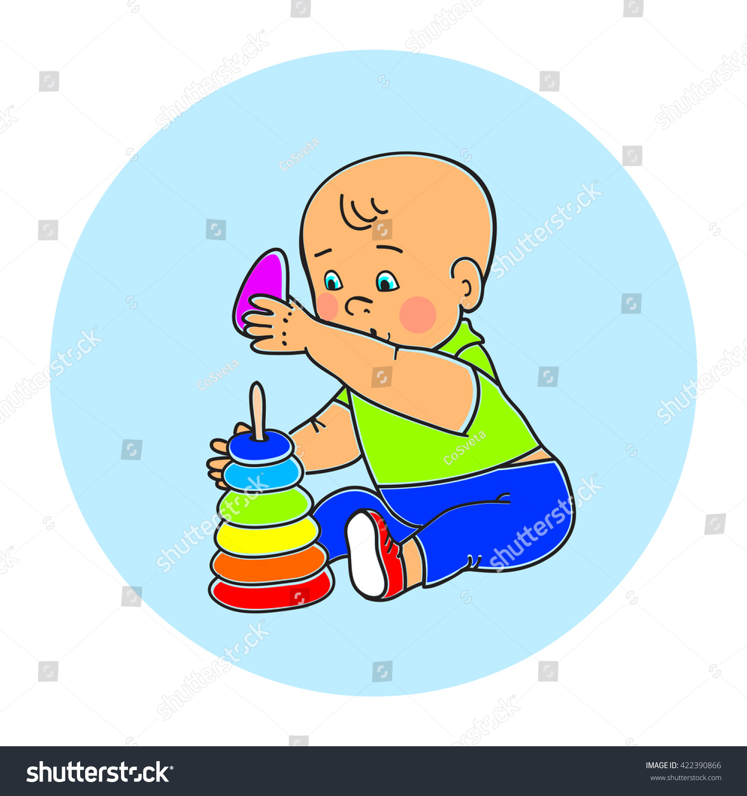 Little Lovely Baby Boy Playing Toys Stock Vector