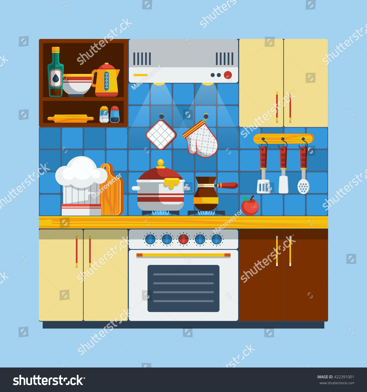 Kitchen Interior Concept Flat Cooking Symbols Stock Photo (Photo ...