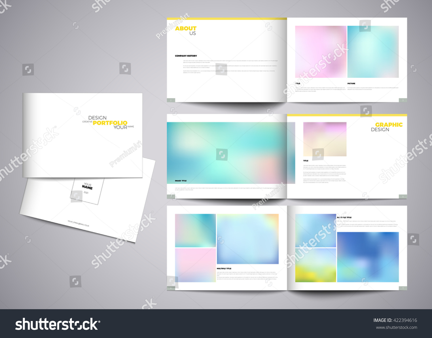 Graphic design studio portfolio template white stock vector graphic design studio portfolio template white creative pages and cover design with your text pronofoot35fo Image collections