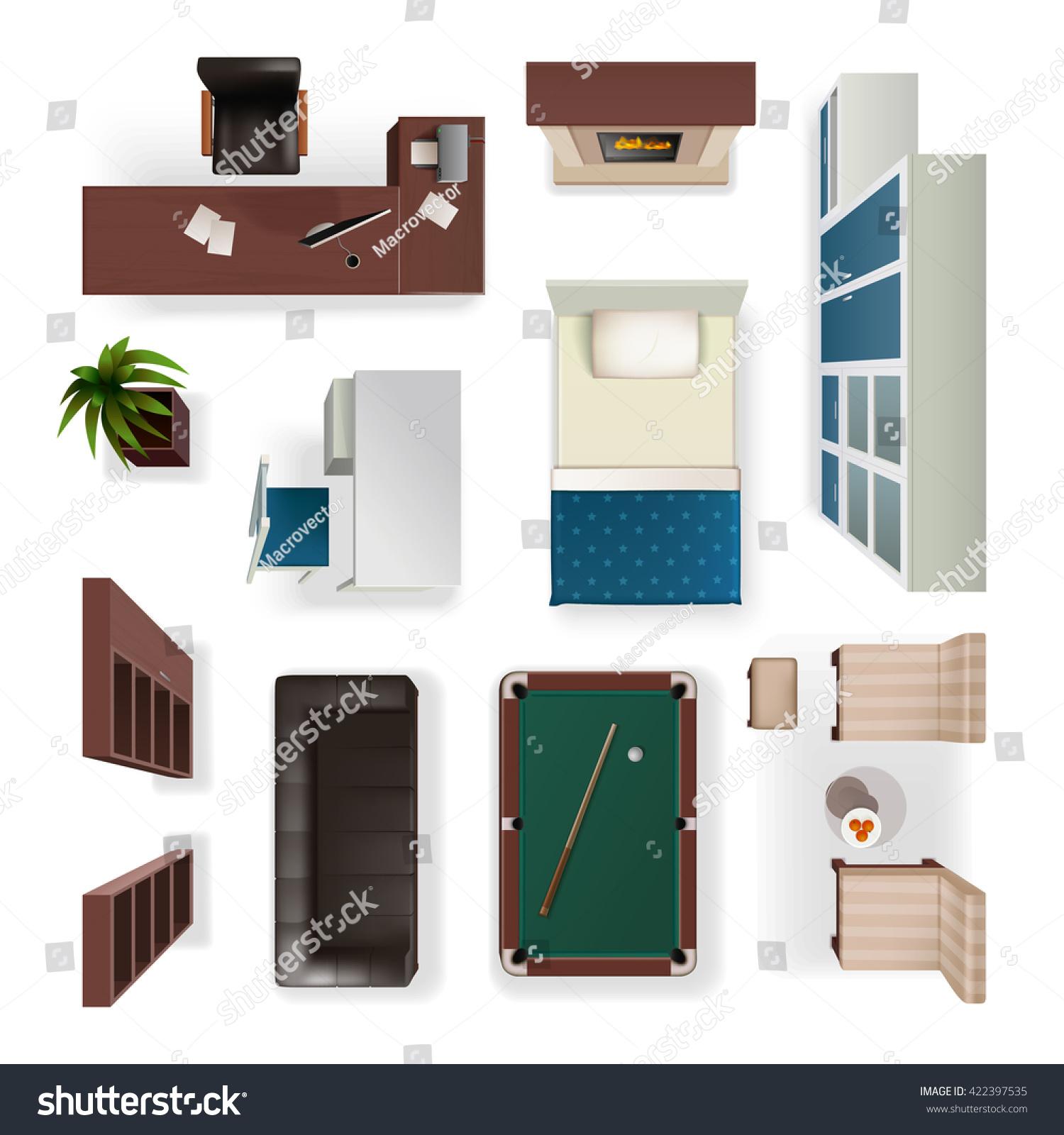 Kitchen Set Top View: Modern Interior Furniture Office Living Bedroom Stock
