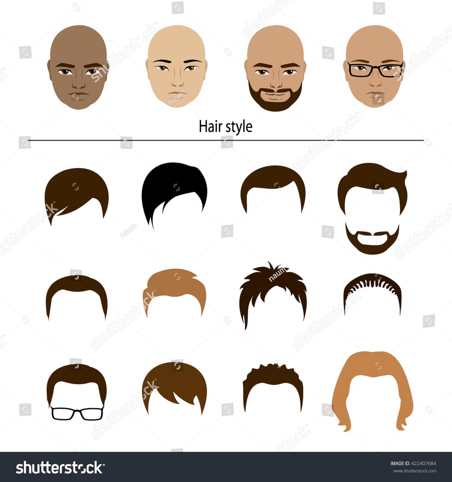 male stylish templates hairstyles cartoon vector stock vector