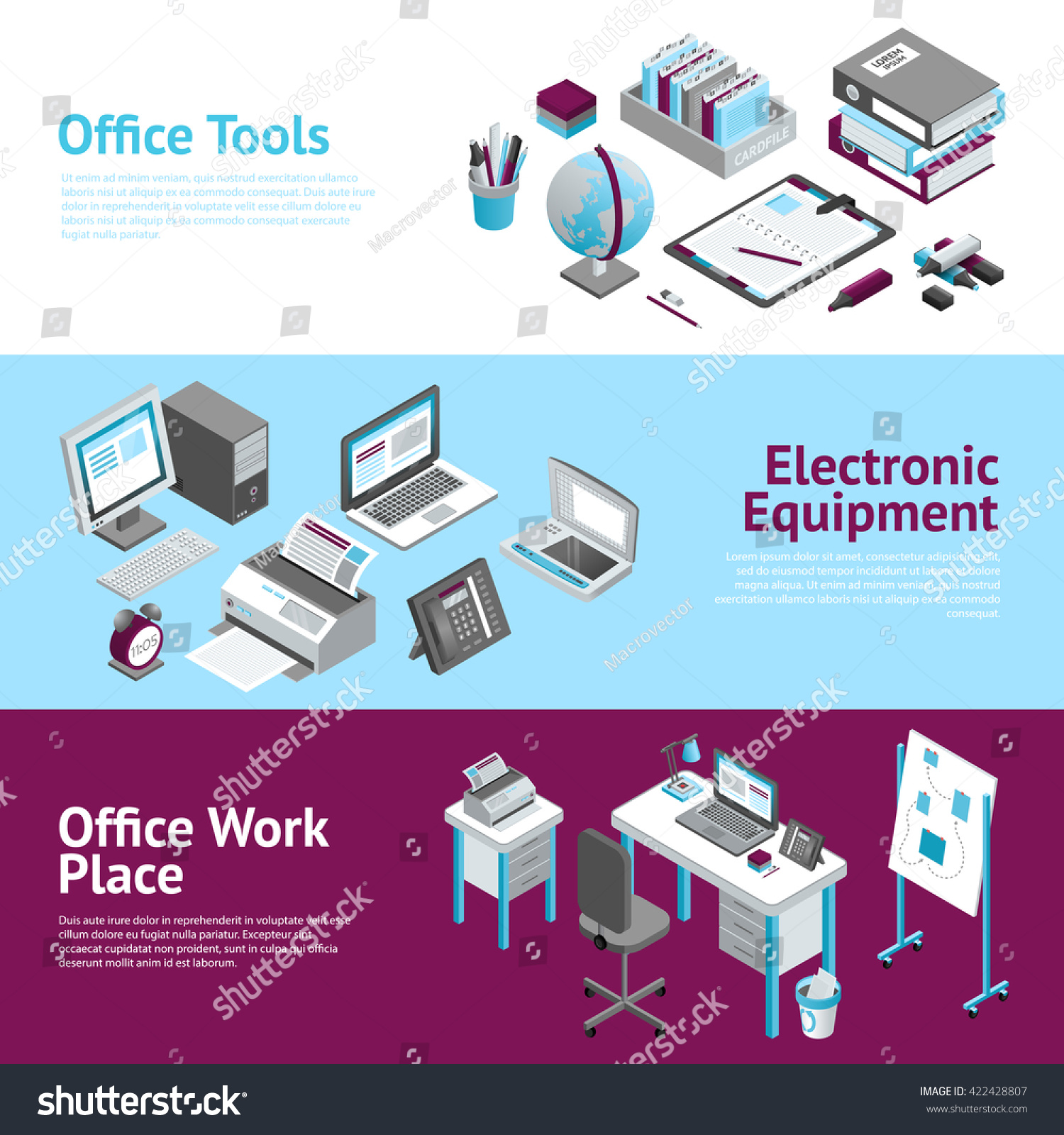 Image of: Modern Office Workplace Desk Organizer Accessories Stock Vector Royalty Free 422428807