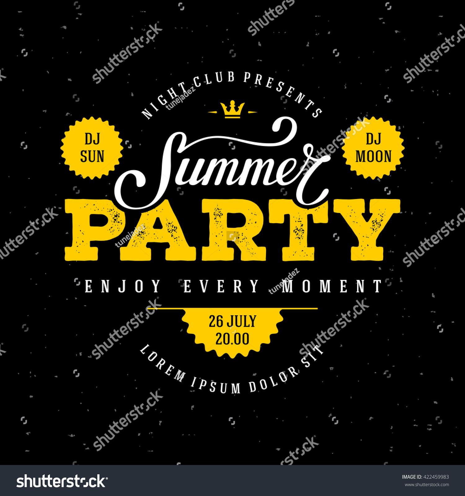 Summer Party Lettering Flyer Banner Poster Stock-Vektorgrafik ...