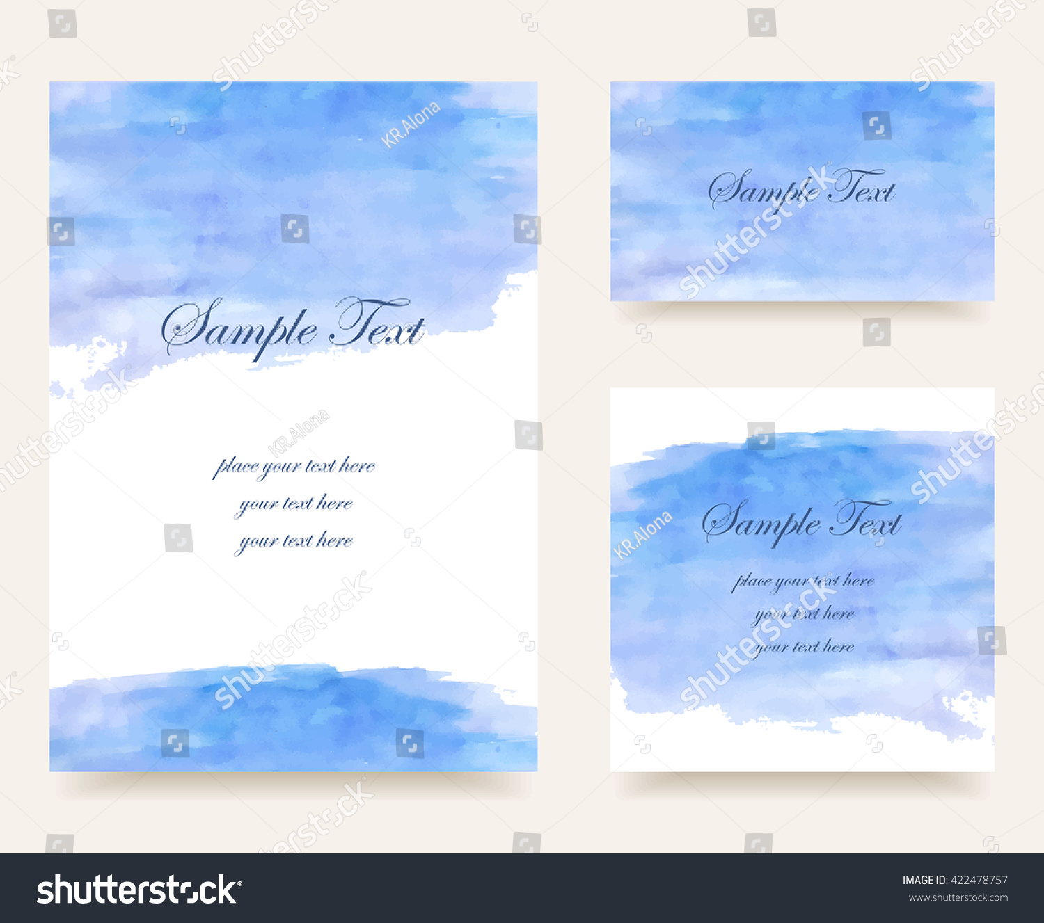 Set Business Cards Watercolor Background Invitation Stock Vector ...