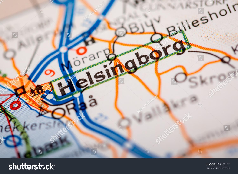 Map Photography Helsingborg City On Road Stock Photo 422486131