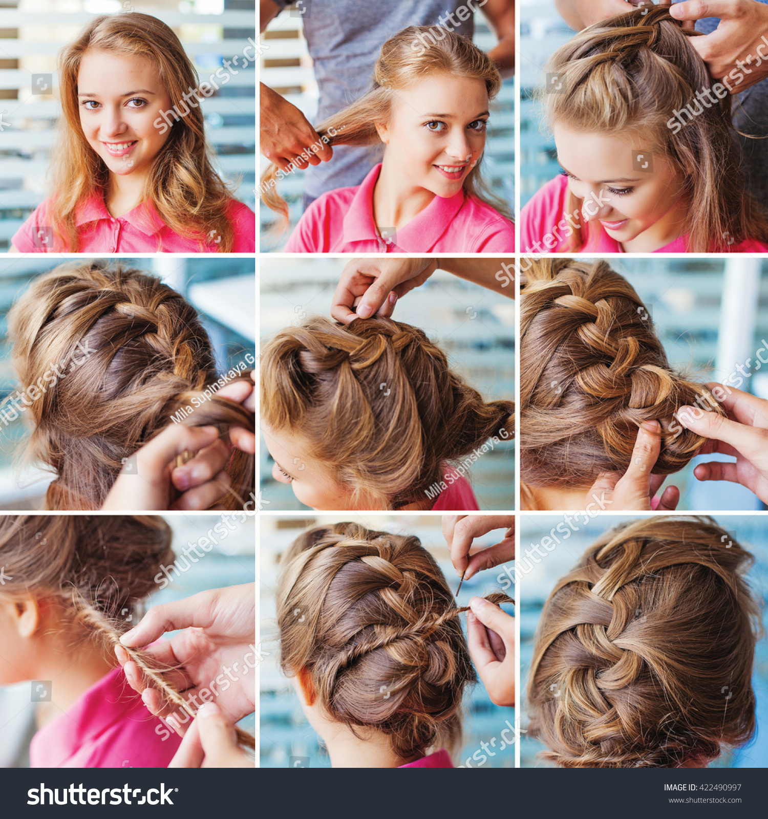 French Braid Party Updo Step By Stock Photo 422490997 Shutterstock French  Braid Party Updo Step By