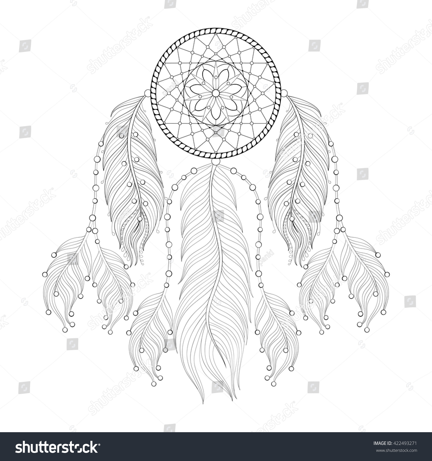 Coloring pages of mehndi hand pattern - Hand Drawn Zentangle Dream Catcher With Mehendi Mandala Feathers For Adult Coloring Pages Post