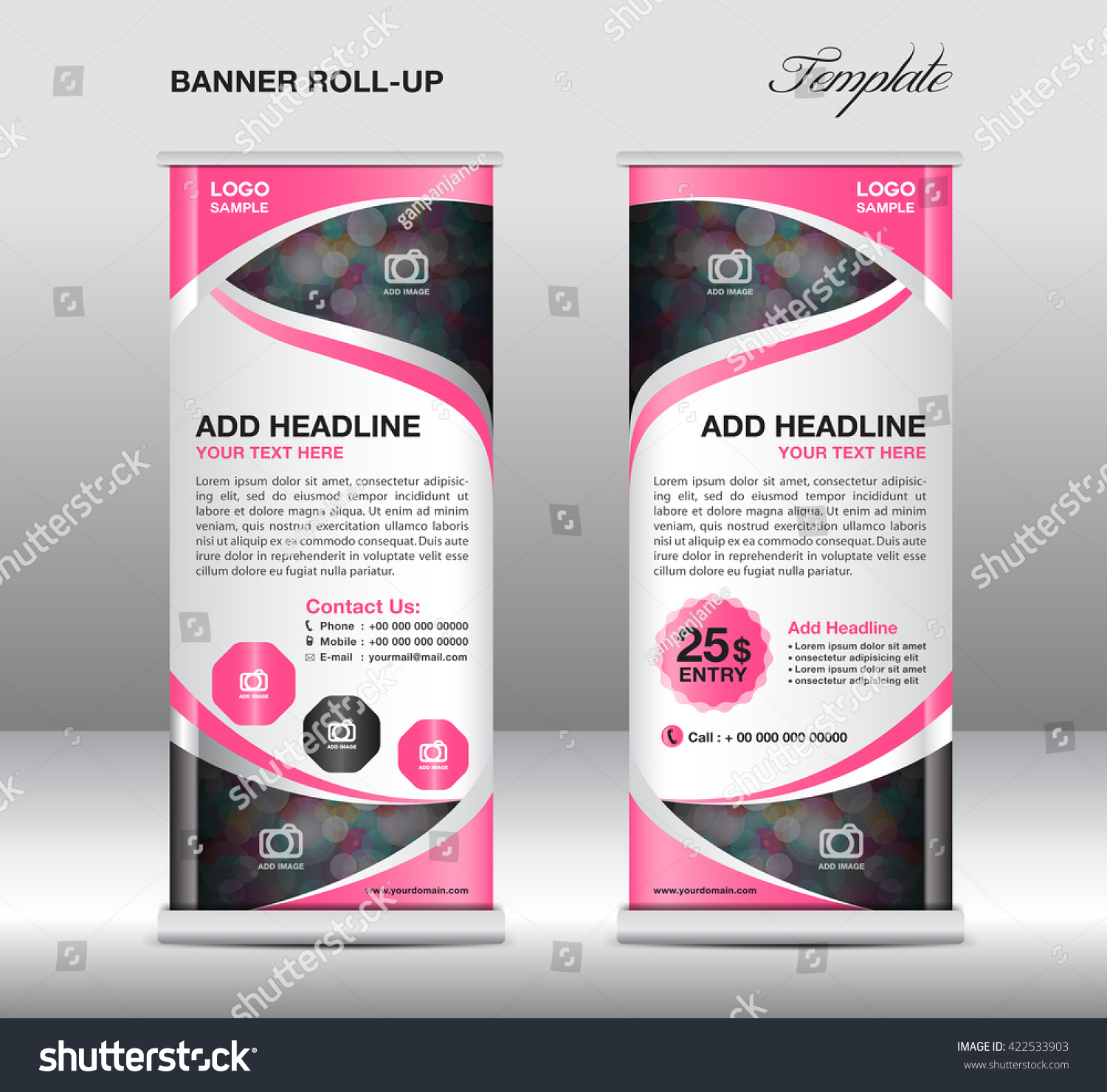 pink roll up banner stand template advertisement flyer vector pink roll up banner stand template advertisement flyer vector illustration trade design