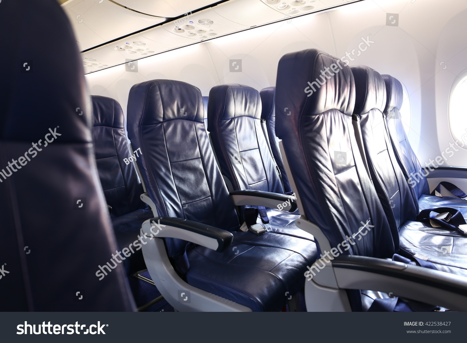 Row Airplane Seat Windows Flight Stock Photo 422538427