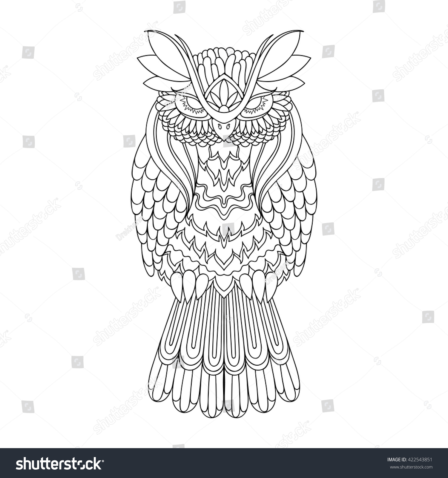 vector owl illustration picture coloring symbol stock vector