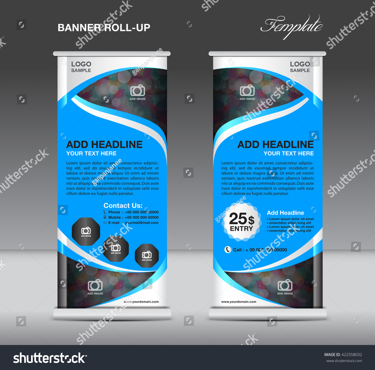 roll banner stand template advertisement flyer stock vector roll up banner stand template advertisement flyer vector illustration trade design poster