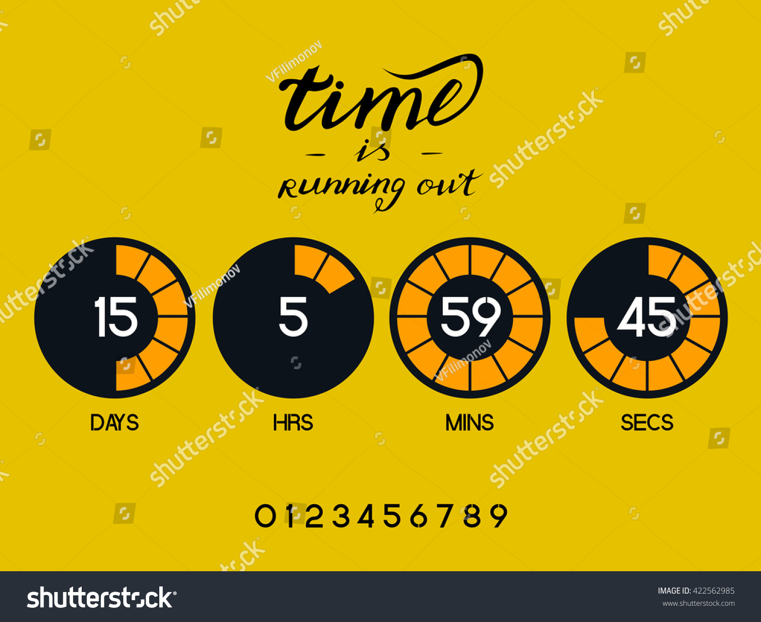 countdown timer website round section days stock vector royalty