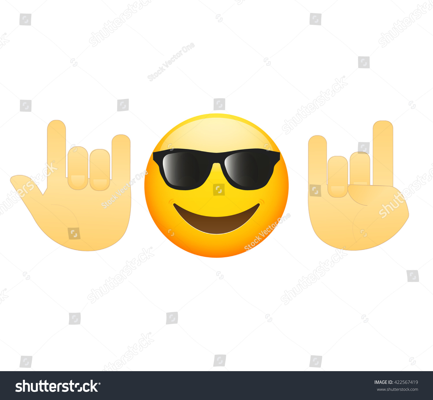 emoticon face hand icon meaning rock stock vector royalty free