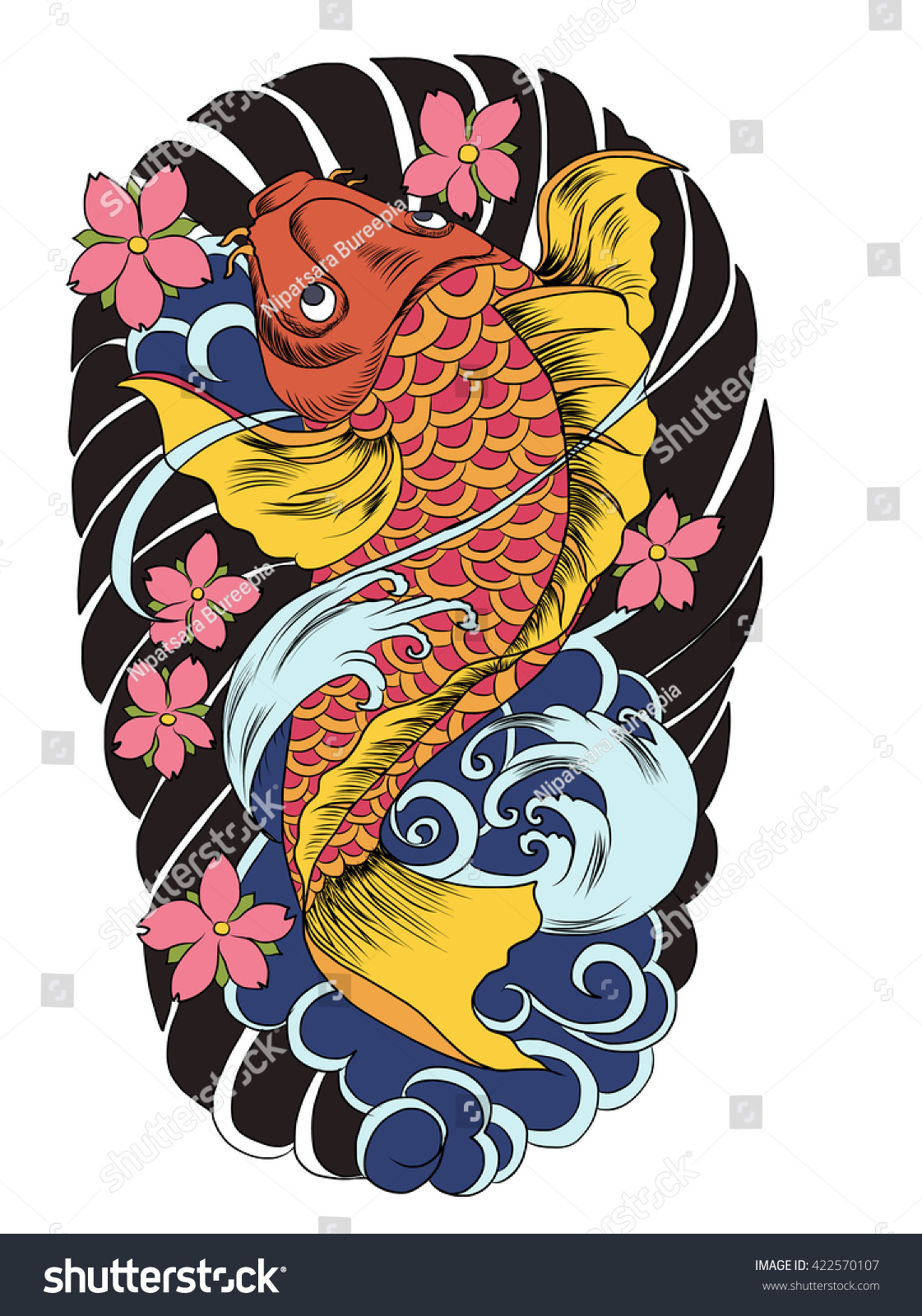 hand drawn koi fish tattoo stock vector 422570107 shutterstock. Black Bedroom Furniture Sets. Home Design Ideas