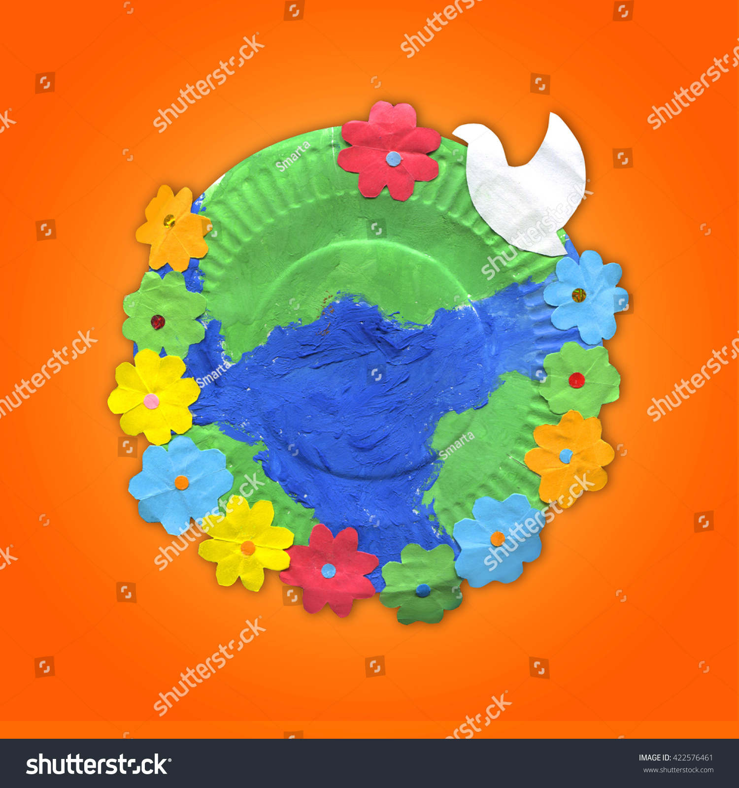 Childrens Crafts Earth Flowers Bird On Stock Photo Edit Now