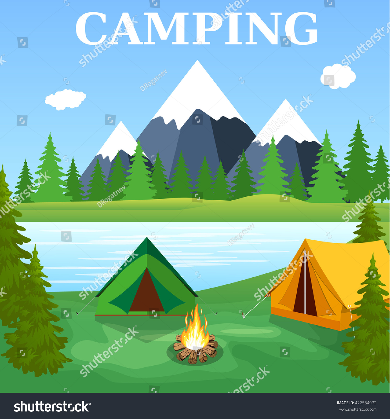 Vector flat illustration camping nature background stock for Outdoor crafts for camping