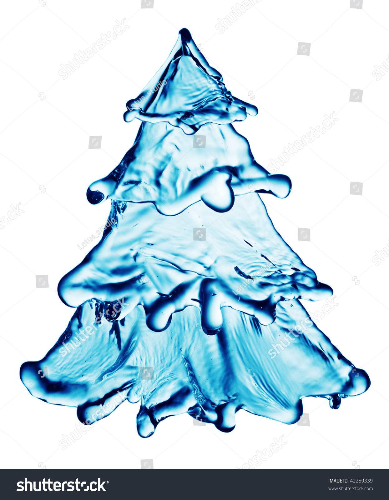 Christmas Water Tree Isolated On White Stock Photo 42259339 ...