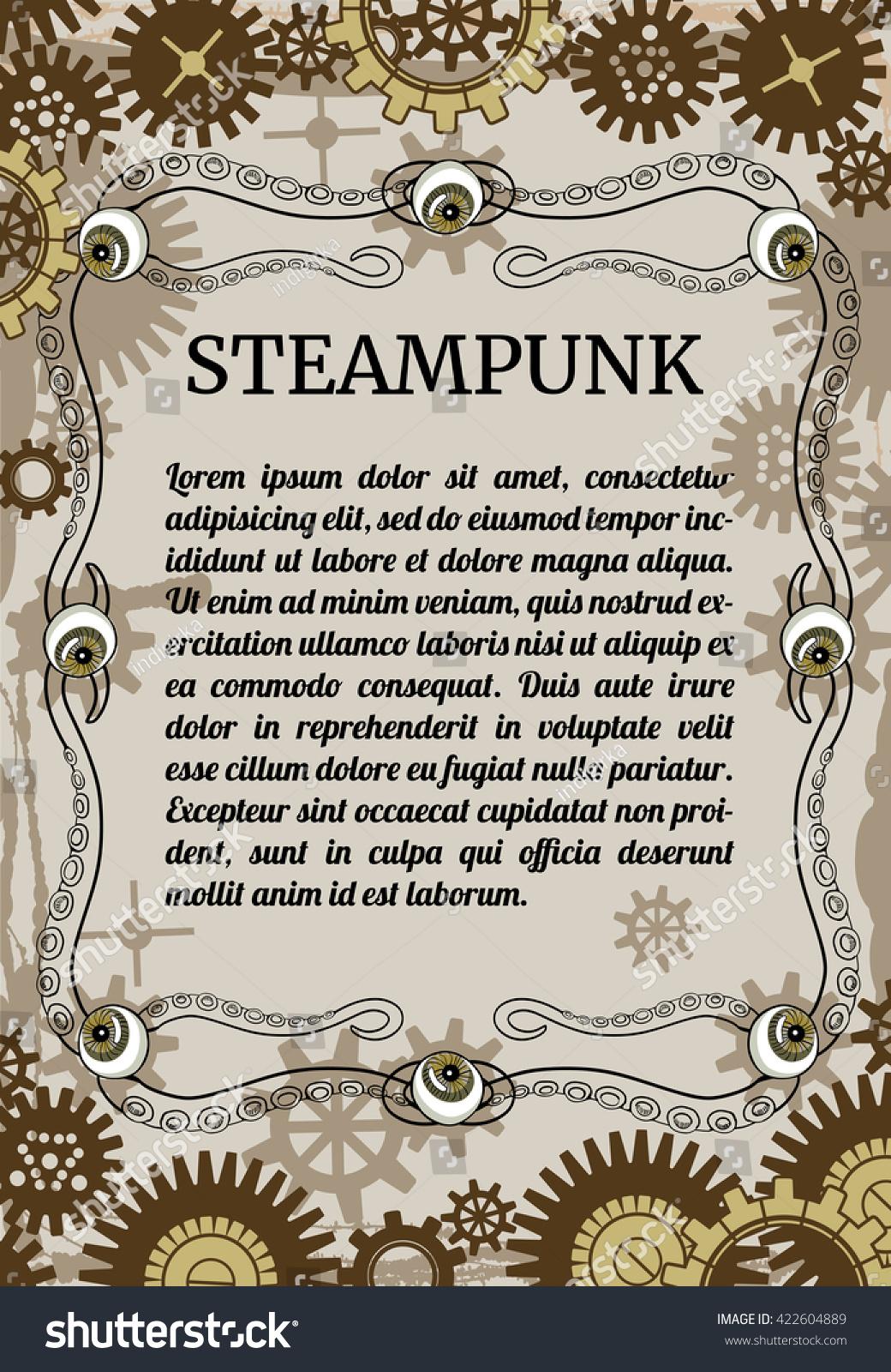 Steampunk Card Retro Illustration Eyeballs Vintage Stock Vector