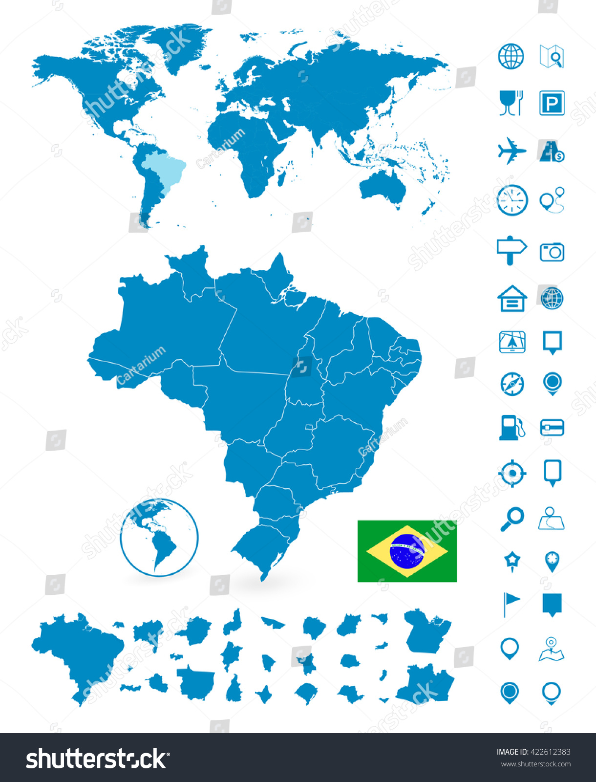 Detailed map brazil world map navigation vector de stock422612383 detailed map of brazil and world map navigation set vector illustration gumiabroncs