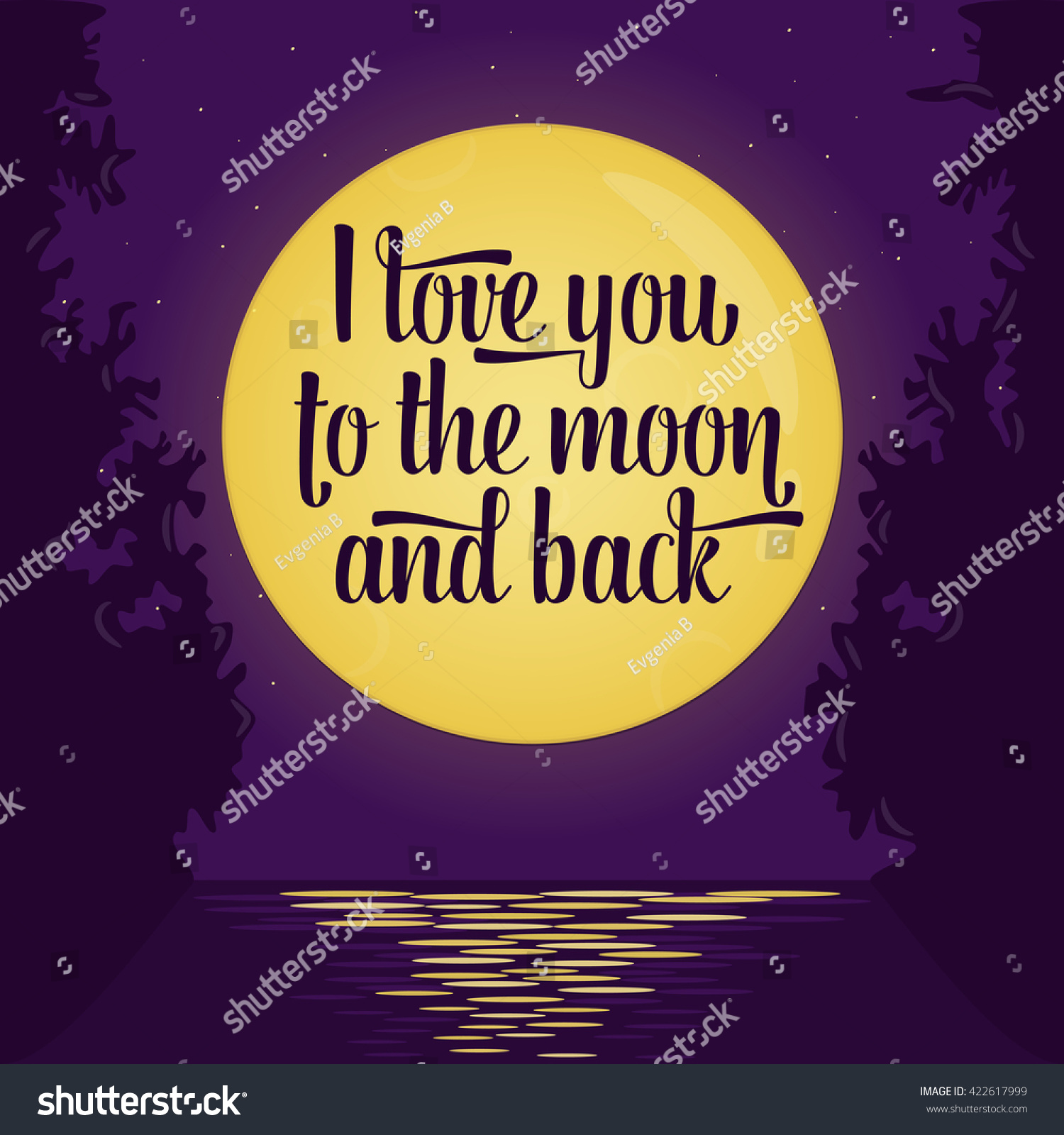Lettering Quote Love You Moon Back Stock Vector Royalty Free