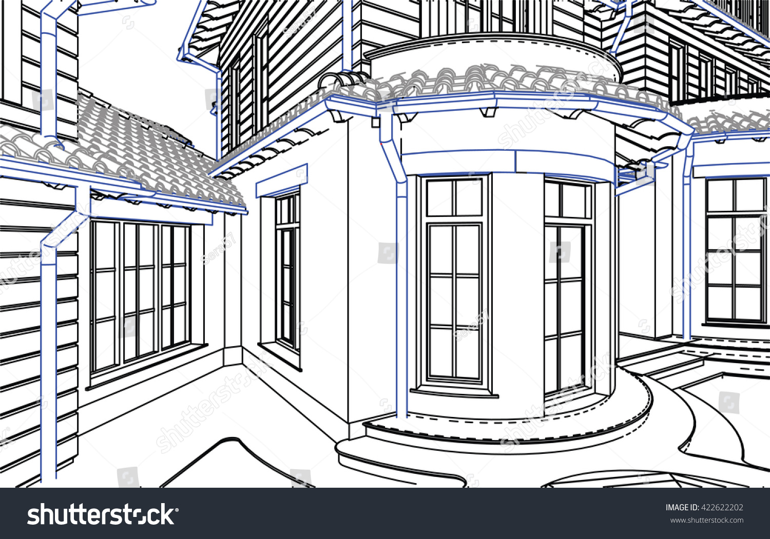 Architecture Drawing 3d wireframe blueprint drawing 3d building vector stock vector