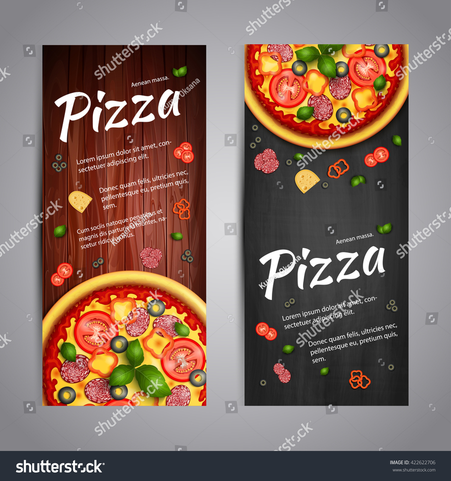 Realistic pizza pizzeria flyer vector background stock for Pizza pizzeria