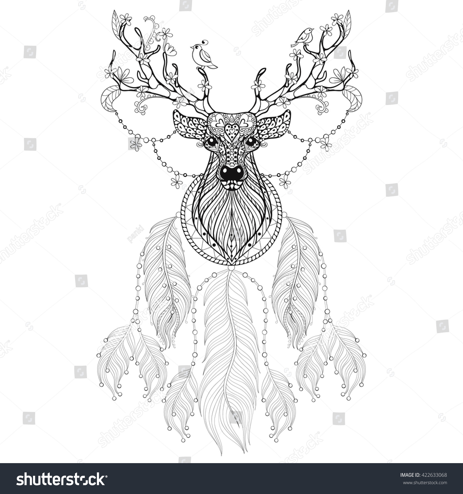 Drawing pages of deer - Hand Drawn Zentangle Dreamcatcher With Tribal Horned Deer With Flowers And Birds For Adult Coloring Pages