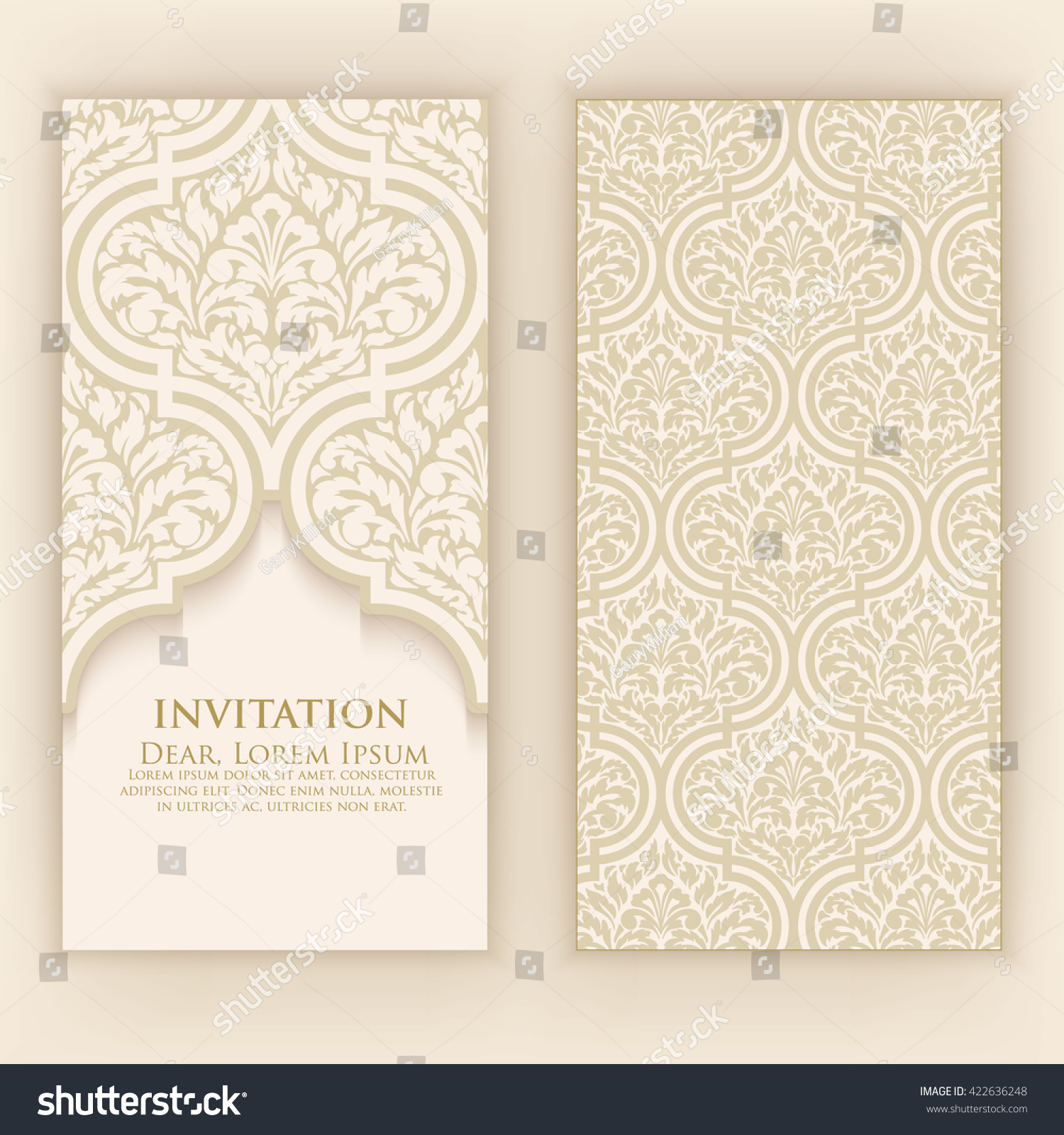 Invitation cards with ethnic arabesque elements for Arabesque style decoration