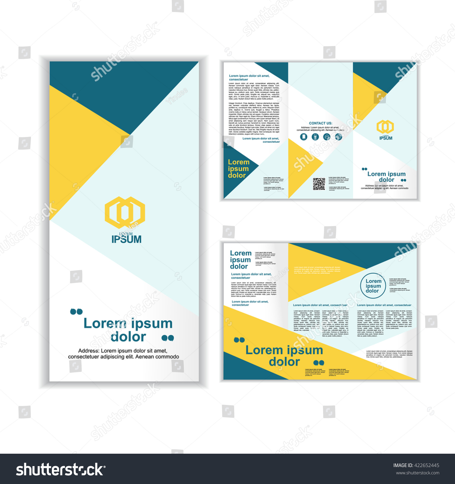professional business three fold brochure template stock vector