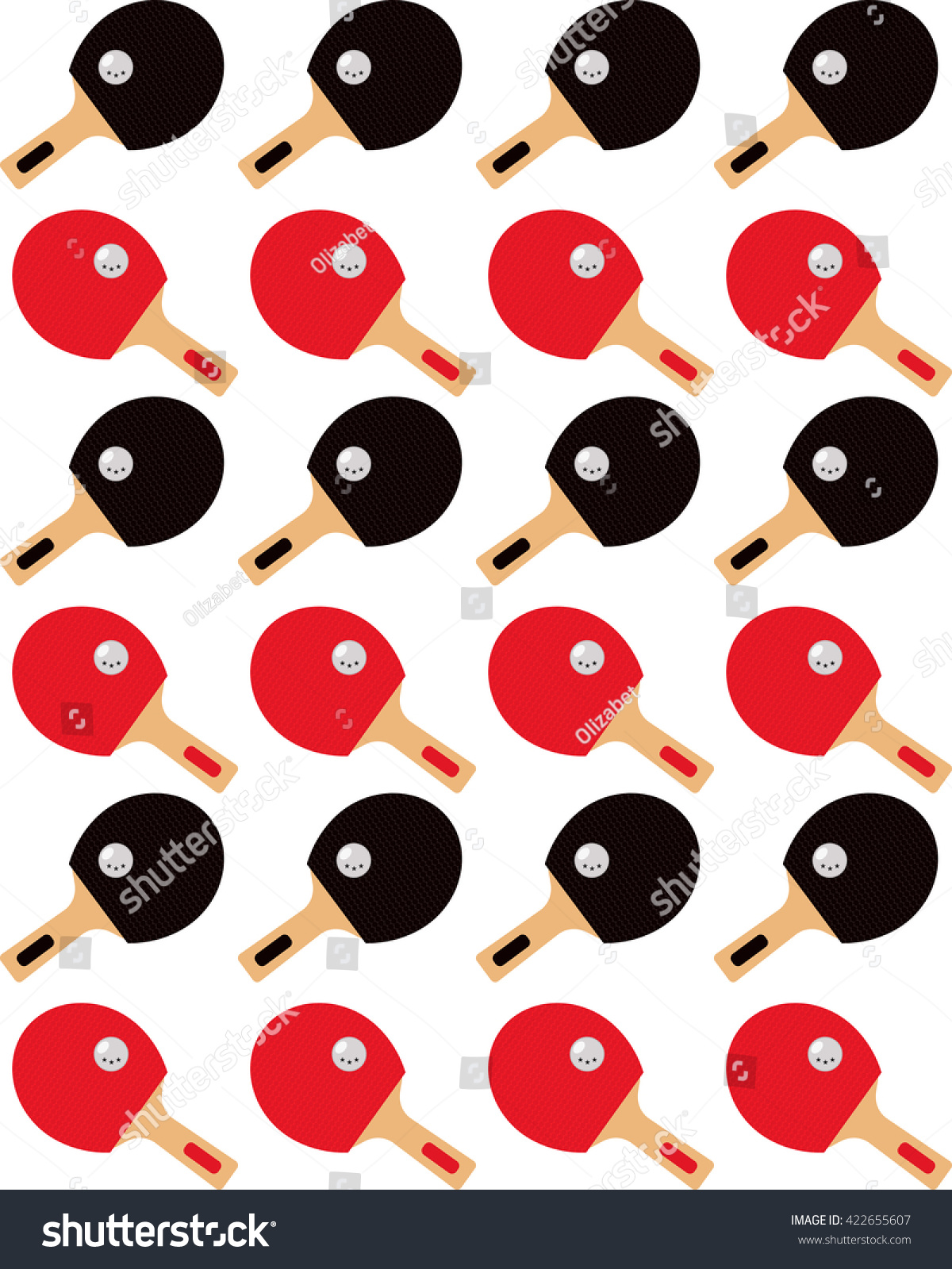 Table Tennis Ping Pong Rackets Seamless Vector Pattern Sport Pattern