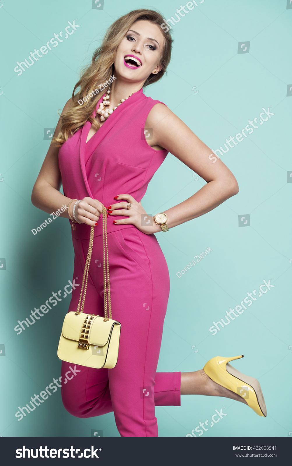 Happy Woman Pink Dress Yellow Bag Stock