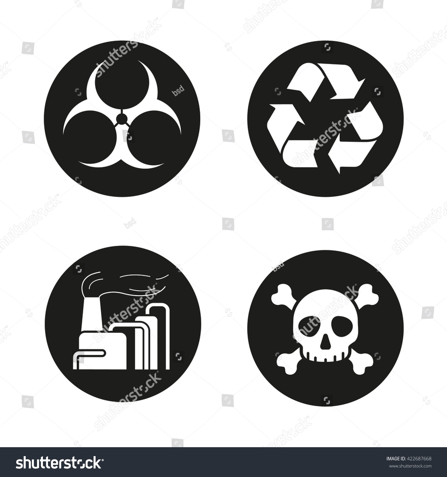 Air Pollution Skull : Industrial air pollution icons set biohazard and recycle