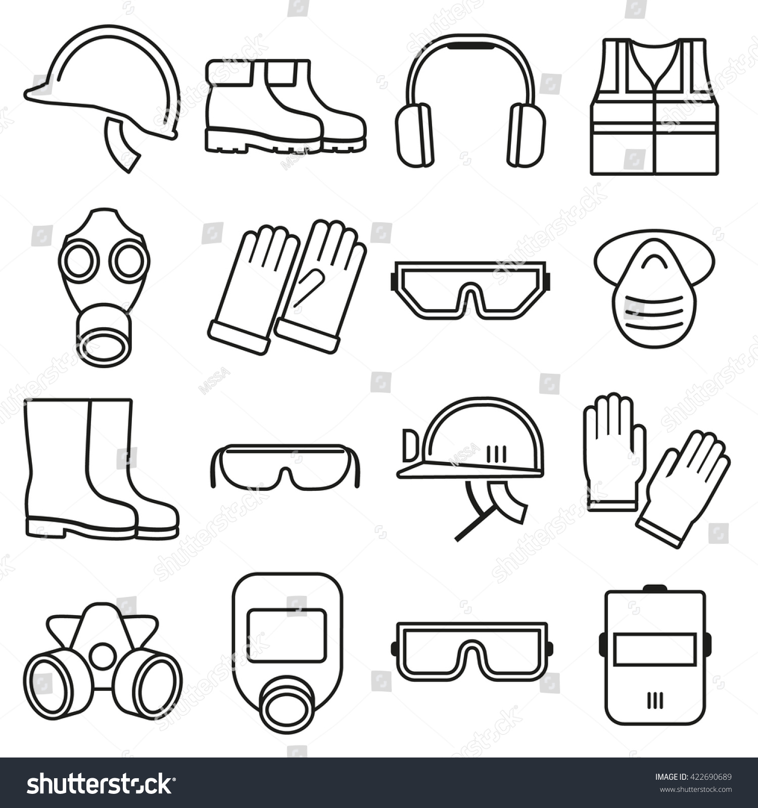linear job safety equipment icons set stock vector 422690689 linear job safety equipment icons set helmet industry vector illustration